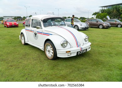 KUALA LUMPUR, MALAYSIA - AUGUST 13, 2017: Volkswagen Beetle at the VW Car Festival. The Volkswagen Beetle is a two-door, four-passenger, rear-engine economy car that was manufactured on 1938