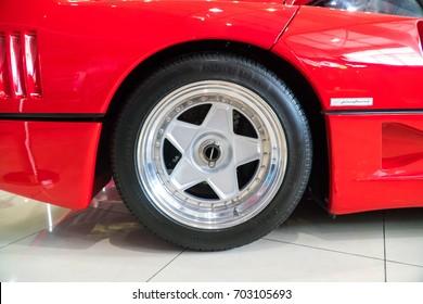 KUALA LUMPUR, MALAYSIA - AUGUST 13, 2017: Rims and Tire from Ferrari F40 at showroom in Kuala Lumpur, Malaysia.