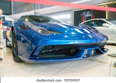 KUALA LUMPUR, MALAYSIA - AUGUST 13, 2017: Ferrari 458 Speciale at showroom in Kuala Lumpur, Malaysia. Is a V8 sports cars with the best performances ever: extreme technology for special emotions.