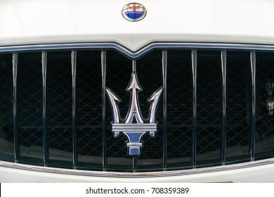 KUALA LUMPUR, MALAYSIA - AUGUST 13, 2017: Emblem from Maserati Quattroporte GTs at showroom in Kuala Lumpur, Malaysia.
