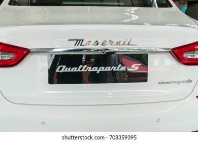 KUALA LUMPUR, MALAYSIA - AUGUST 13, 2017: Maserati Quattroporte S at showroom in Kuala Lumpur, Malaysia.