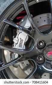 KUALA LUMPUR, MALAYSIA - AUGUST 13, 2017: Big Brake Kit and Rims from Subaru Impreza STI S206 at showroom in Kuala Lumpur, Malaysia.