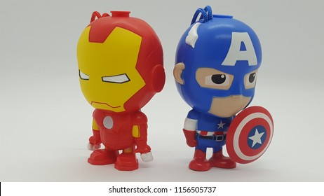 Kuala Lumpur / Malaysia - August 15 2018: Avengers figurine in white background as Iron man and Captain America standing side by side