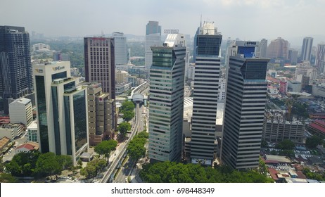 KUALA LUMPUR, MALAYSIA - AUGUST 15, 2017 : Aerial view of Kuala Lumpur near Kampung Baru during sunny day. Kuala Lumpur was hosted 29th Sea Games for this year.