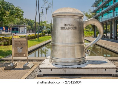 Kuala Lumpur, Malaysia - August 16, 2013: World's tallest pewter beer mug from the Guinness Book of Reocrds at the 150 years old world's leading Royal Selangor Pewter factory
