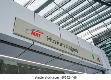KUALA LUMPUR, MALAYSIA - AUGUST 16 2017: Station signboard to MRT train. MRT is Mass Rapid Transit Corporation Sdn Bhd, in Kuala Lumpur, Malaysia.