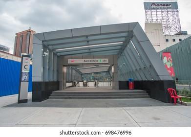 KUALA LUMPUR, MALAYSIA - AUGUST 18 2017: Building and landmark to MRT train. MRT is Mass Rapid Transit Corporation Sdn Bhd, in Kuala Lumpur, Malaysia.