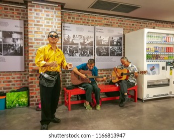 Kuala Lumpur, Malaysia - August 19, 2018: ;Busking from the special needs at The Yayasan Sime Darby Arts Festival (YSDAF), the largest free-for-all arts festival in Malaysia.