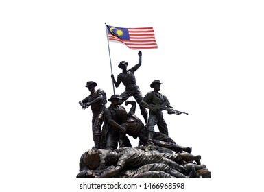KUALA LUMPUR, MALAYSIA - August 1st, 2019 : Malaysia National Monument also known as Tugu Negara. Isolated on white background.