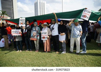 KUALA LUMPUR, MALAYSIA - AUGUST 2: Pro Palestine manifestation held in Kuala Lumpur on August, 2, 2014. People took to the streets to claim Gaza and Palestine freedom against israel war and bombing