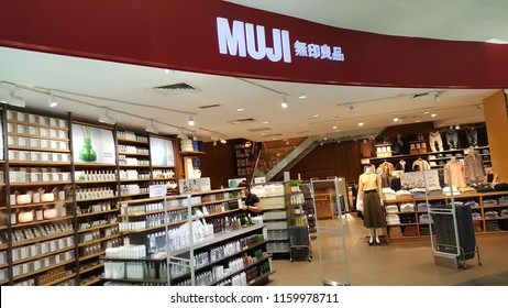 Kuala Lumpur / Malaysia - August 20 2018: MUJI Store in mall. Ryohin Keikaku Co. Ltd. or Muji (Mujirushi Ryōhin) is a Japanese retail company which sells a wide variety of household and consumer goods