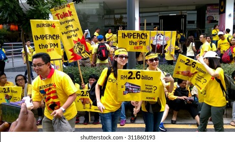 KUALA LUMPUR, MALAYSIA - AUGUST 2015 - Demonstrators participating in Bersih 4.0, a series of planned rallies with the objective to call for clean and transparent governance in Malaysia on 29 August.