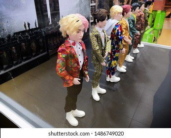 Kuala Lumpur , Malaysia - August 2019 : BTS Boy Band toy character display at Toys R Us store. BTS, also known as the Bangtan Boys, is a seven-member South Korean boy band formed in Seoul in 2013.