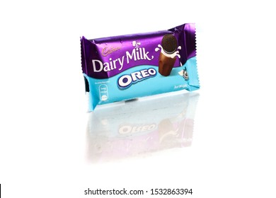 Kuala Lumpur, Malaysia - August 2019. Delicious dairy product of chocolate bar with chocolate cookies inside it. Dairy milk and Oreo combination of chocolate.