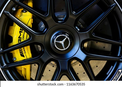 KUALA LUMPUR, MALAYSIA - AUGUST 24, 2018 : Detail of Mercedes-Benz AMG S63 Coupe wheel. Dream Car Collection.
