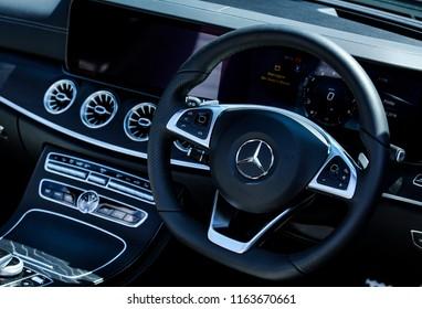 KUALA LUMPUR, MALAYSIA - AUGUST 24, 2018 : Interior of A238 Mercedes-Benz E-Class Cabriolet, E 300 Cabriolet. Dream Car Collection.