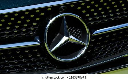 KUALA LUMPUR, MALAYSIA - AUGUST 24, 2018 : Mercedes-Benz logo. A238 Mercedes-Benz E-Class Cabriolet, E 300 Cabriolet. Dream Car Collection.