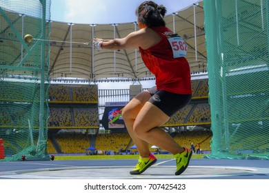 KUALA LUMPUR, MALAYSIA - AUGUST 24, 2017 : Athlete Hammer Throw perform during women's hammer throw final at 29th Southeast Asian Games (SEA Games) at Bukit Jalil Stadium.