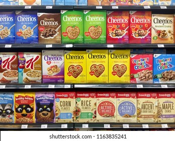 Kuala Lumpur, Malaysia - August 25, 2018:  Varieties brands of healthy breakfast cereal on supermarket shelf