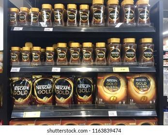 Kuala Lumpur, Malaysia - August 25, 2018:  Bottle of Nescafe GOLD classic on display at supermarket shelf