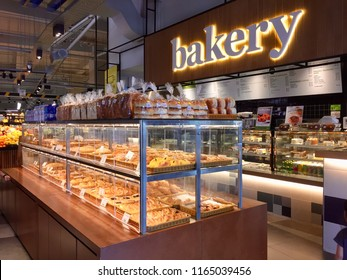 Kuala Lumpur, Malaysia - August 25, 2018:  New modern Bakery shop inside the supermarket.