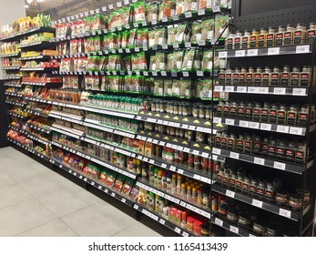 Kuala Lumpur, Malaysia - August 25, 2018:  Shelves of cooking spices and herbs in local supermarket