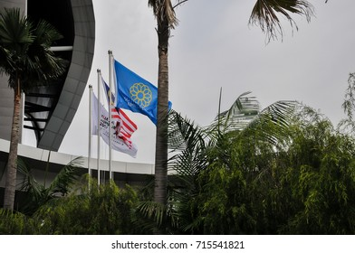 KUALA LUMPUR, MALAYSIA - AUGUST 25, 2017 :SEA Games and Malaysia flag was lifted at the MITEC Exhibition Hall compound throughout the SEA Games