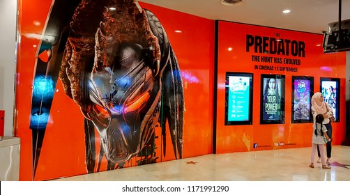KUALA LUMPUR, MALAYSIA - AUGUST 26, 2018: The Predator movie poster, The movie is directed by Shane Black