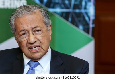 KUALA LUMPUR, MALAYSIA - AUGUST 27, 2018 : Malaysia Prime Minister Mahathir Mohamad. Malaysian politician currently serving as the Prime Minister of Malaysia for the second time.