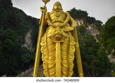 KUALA LUMPUR, MALAYSIA - AUGUST 28 2016: Murugan statue. The entrance to Batu Caves in Kuala Lumpur. Malaysia