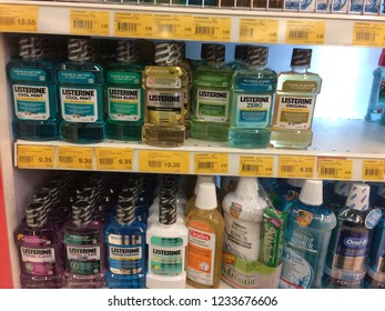 Kuala Lumpur, Malaysia - August 29, 2018 : Listerine is an American brand of antiseptic mouthwash product on the shelf in Giant Supermarket in Kuantan. One of the largest supermarket in Kuantan.