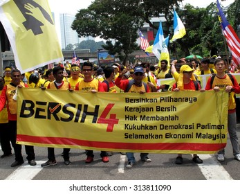 KUALA LUMPUR, Malaysia, August 29, 2015: Supporters wearing yellow shirt at BERSIH 4 rally on August 29 and 30th calling for clean, fair and corruption free elections in Malaysia