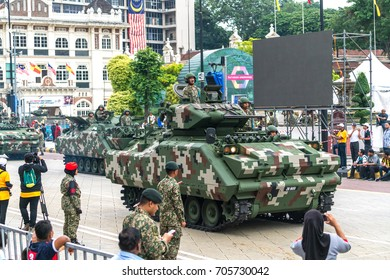 KUALA LUMPUR, MALAYSIA - AUGUST 29, 2017: Soilder armour defends shows  during independence day preparation stage.
