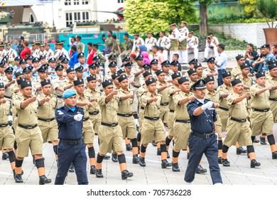 KUALA LUMPUR, MALAYSIA - AUGUST 29, 2017: Rehearsal for Malaysia's Independence Day at Dataran Merdeka; one of the most colorful events celebrated annually.