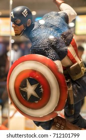 KUALA LUMPUR, MALAYSIA - AUGUST 29, 2017: Replica of Captain America from Avengers movie in Kuala Lumpur Malaysia. Captain America is a fictional superhero in comic books published by Marvel Comics