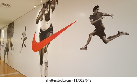 Kuala Lumpur / Malaysia - August 30 2018: Nike Store wall painted with athletes runner
