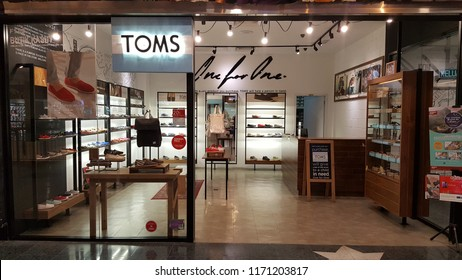 Kuala Lumpur / Malaysia - August 30 2018: TOMS shoe store. Toms (stylized as TOMS) is a for-profit company based in Playa Del Rey, California. The company was founded in 2006 by Blake Mycoskie.