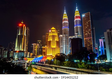 KUALA LUMPUR, MALAYSIA, AUGUST 30 2020 : KLCC Twin Tower lighted up with beautiful national flag colours celebrating independence day