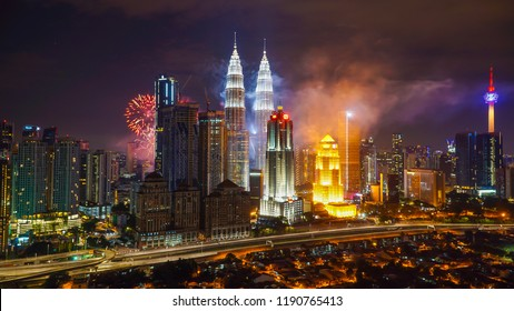 KUALA LUMPUR, MALAYSIA - AUGUST 31, 2018: Colorful Fireworks spark during independence day at the Petronas Twin Tower (KLCC)