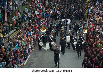 Kuala Lumpur / Malaysia - August 31 2016 Malaysia Independence Day Parade in the streets of the capital city with crowds watching