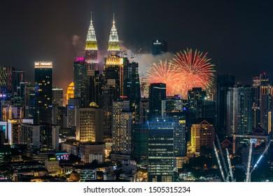 KUALA LUMPUR, MALAYSIA - AUGUST 31, 2019 : Beautiful fireworks show in Kuala Lumpur city centre during celebration of Malaysia Independence Day.