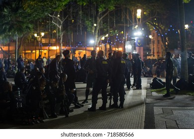 KUALA LUMPUR, MALAYSIA - AUGUST 31TH, 2017.The National day with several police groups are discussing their parade . low light image