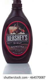 KUALA LUMPUR, MALAYSIA - AUGUST 4TH 2016. First introduced in 1905,This is Hershey chocolate syrup.  Hershey's  is a brand of chocolate manufactured by The Hershey Company.