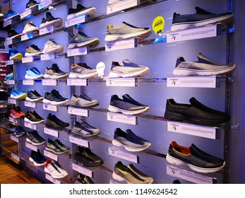 KUALA LUMPUR, MALAYSIA - AUGUST 5, 2018: Skechers sport running shoe of store shelf. Skechers is an American lifestyle and performance footwear company for men, women and children.