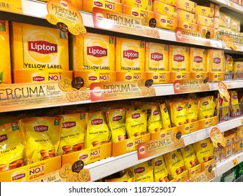 Kuala Lumpur, Malaysia - August 5, 2018 : Lipton or tea drink on display shelf at supermarket with selective focus and crop fragment
