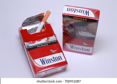 Kuala Lumpur, Malaysia - August 7th, 2017 : a box of cigarette brand Winston isolated on white background