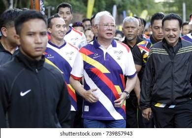 KUALA LUMPUR, MALAYSIA - AUGUST 8, 2017. Malaysia's Prime Minister, Najib Razak take part in a Kuala Lumpur SEA Games torch run in Kuala Lumpur.