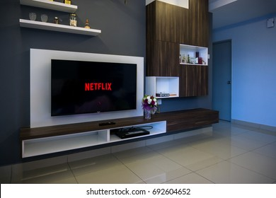KUALA LUMPUR, MALAYSIA - AUGUST 8TH, 2017 : Modern lifestyle with SONY Android TV to stay connected & browsing media using favourite Apps. Tv display netflix app