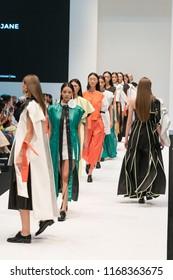 """KUALA LUMPUR, MALAYSIA - August 9, 2018 : Model presents creation by A-Jane collection during Kuala Lumpur Fashion Week """" Ready To Wear """" 2018 at Pavilion Kuala Lumpur, Malaysia."""