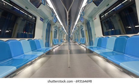KUALA LUMPUR, MALAYSIA - AUGUST 9, 2017 :  Interior of MRT train. The Mass Rapid Transit, or MRT, is a rapid transit system forming the major component of the railway system in Kuala Lumpur.